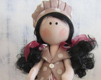 Muñeca hecha a mano, muñeca de tela, muñeca personalizada, muñeca tela azul, muñeca de trapo, regalo niña, Tilda, regalo cumpleaños, muñecas