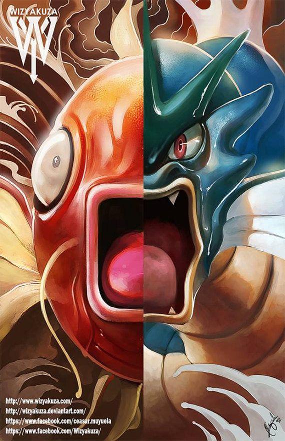 Magikarp & Gyarados Split - Pokemon Original Evolutions - 11 x 17 Digital Print