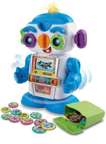 VTech Cogsley Learning Robot.  This electronic learning toy robot comes with 36 computer chips that trigger fun animations on his LCD screen when they are inserted in the slot above his nose.