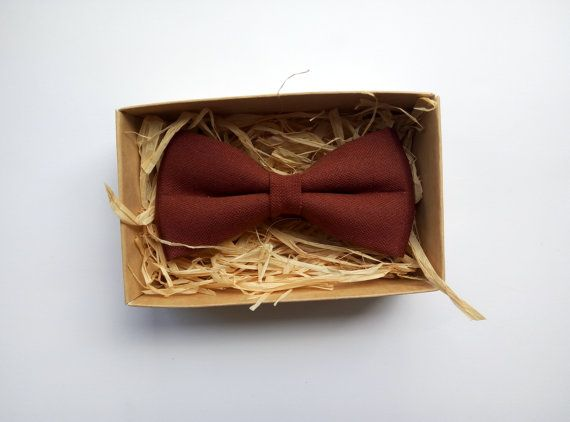 Chocolate  bow tie Linen Chocolate Ring Bearer by ArtOfLithuania