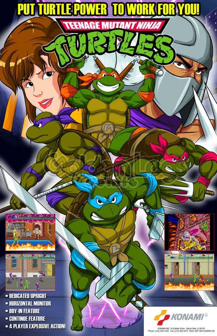 TMNT arcade flyer free version by Shayeragal Tmnt, Ninja