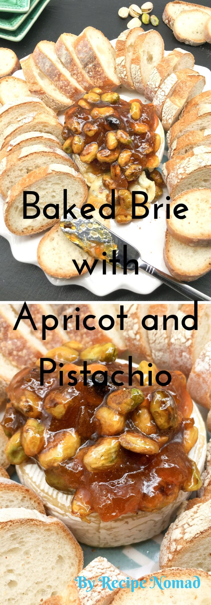 Ooey gooey and oh so good! 3 ingredients for the perfect crowd pleasing appetizer!   http://www.recipenomad.com/baked-brie-with-apricot-jam-and-pistachios/  Baked Brie with Apricot Jam and Pistachios | Recipe Nomad
