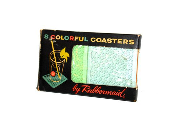 MIDCENTURY COASTERS Rubbermaid Pastel 8 Count (Salmon, Mint, Robins Egg Blue, Caramel) on Etsy, $18.00