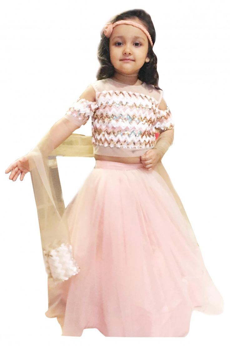 For Your New Year Wear! Designer Net Party Wear Lehenga Choli In Pink Colour. #girlslehenga #girlslehengacholis #cholisuitsforgirls #kidslehengaonline