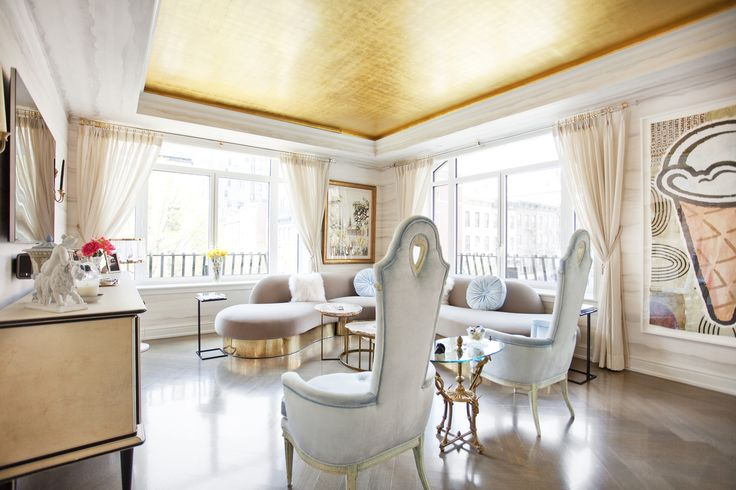 Gold ceiling See more of Sasha Bikoff Interior Design's Upper East Side II on 1stdibs