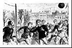 The first international football match-1872 England v. Scotland The crowd who gathered to watch the match numbered 4,000 and they paid an entry fee of a shilling, the same price charged by the English Football Association for the first FA Cup final. They endured a twenty-minute delay to the scheduled 2pm kick-off but then settled to watch the contest in the relaxed and enjoyable atmosphere that would accompany the fixture for over one hundred years