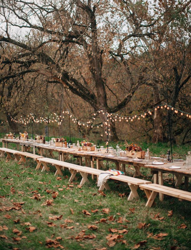 Long handmade pallet farm table for the reception