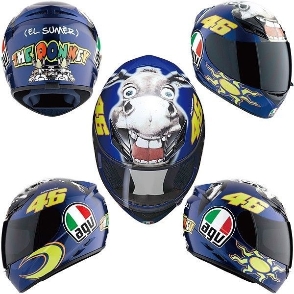 Valentino Rossi Agv The Donkey Helmet El Sumer All Sizes Clear Shield Ebay Valentino Rossi Helmet Motogp Valentino Rossi