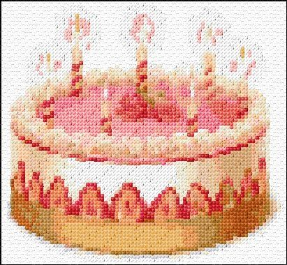 Cross Stitch Birthday Cake