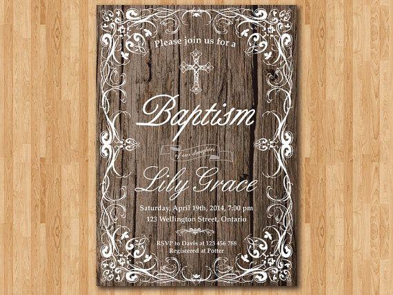 rustic baptism invitation  wood baptism invites  cross