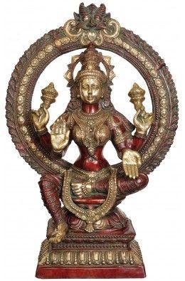 Large Size Goddess Lakshmi with Prabhavali and Kirtimukha Atop