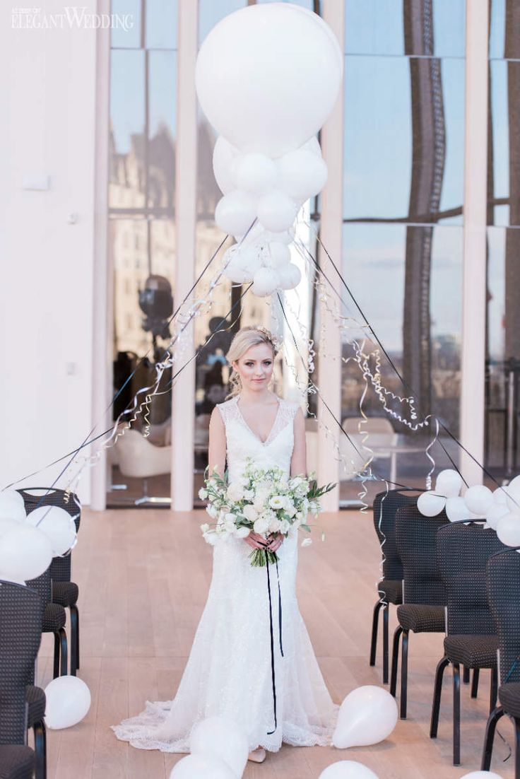Balloon Wedding Ceremony Ideas, Balloon Wedding Decor, Black and White Wedding Ceremony | Glam New Year's Eve Wedding Ideas | ElegantWedding.ca