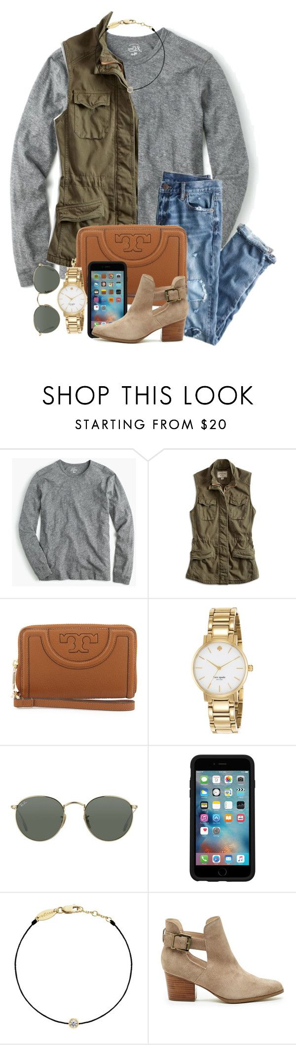 """off on Wednesday;)))"" by thefashionbyem ❤ liked on Polyvore featuring J.Crew, Lucky Brand, Tory Burch, Kate Spade, Ray-Ban, OtterBox, Redline and Sole Society"