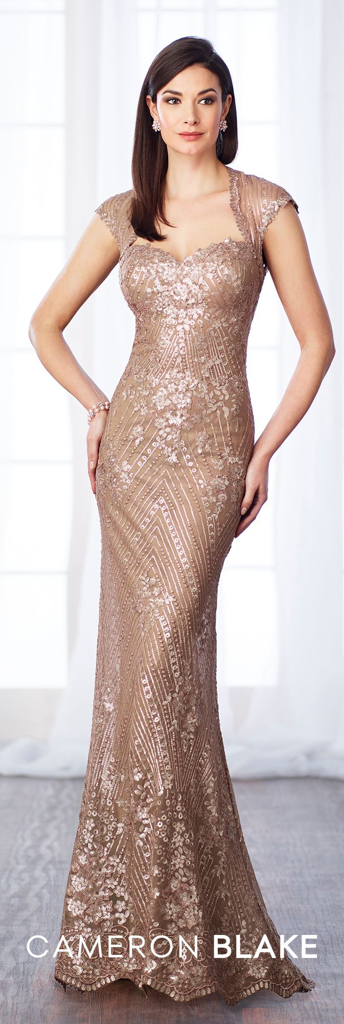 Formal Evening Gowns by Mon Cheri - Fall 2017 - Style No 217632 - dark champagne sequin lace and chiffon fit and flare evening dress with cap sleeves