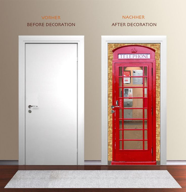 British themed bedroom? This phone booth door wallpaper would fit perfectly.
