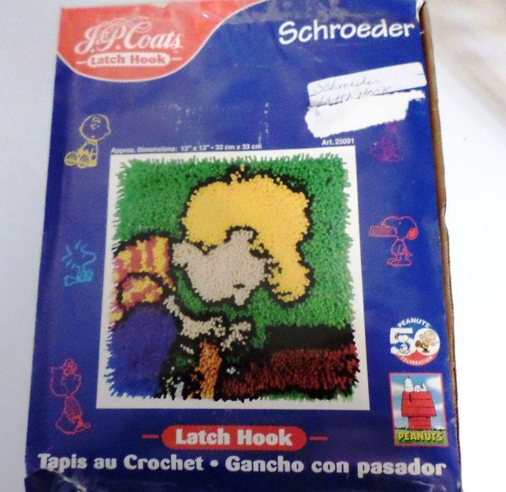 J&P Coats Latch hook kit Schroeder Peanuts Linus piano complete