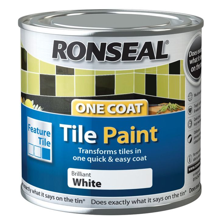 Ronseal Tile Paints Brilliant White High Gloss Tile Paint0.25L -recommended by Boo and Maddie about £10 a tin