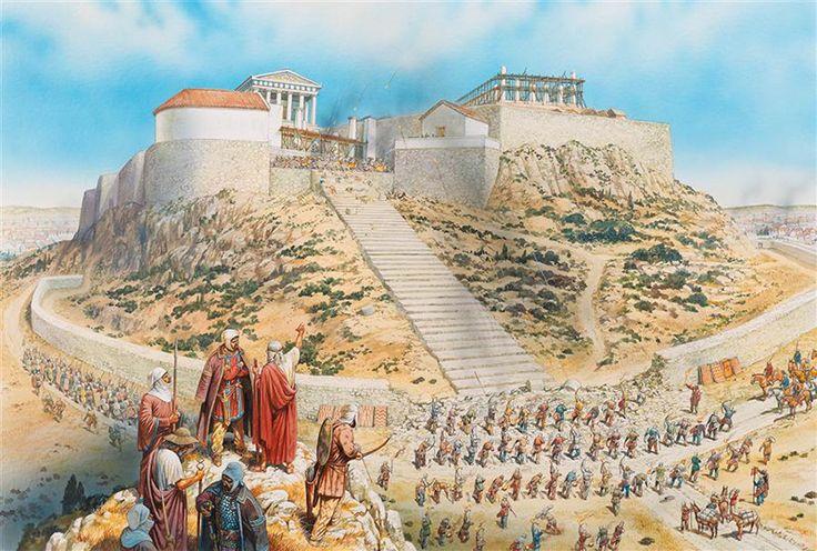 I persiani incominciano a devastare l'acropoli di Atene. Non furono erette mura più possenti prima della guerra in modo  tale da non fornire in caso di insuccesso una roccaforte all'interno della Grecia