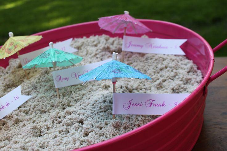 Beach Wedding Place Cards, Escort Cards, Drink Umbrellas, Tropical Wedding, Destination Wedding, Sand