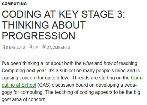 Coding at key stage 3: thinking about progression | Eaglestone
