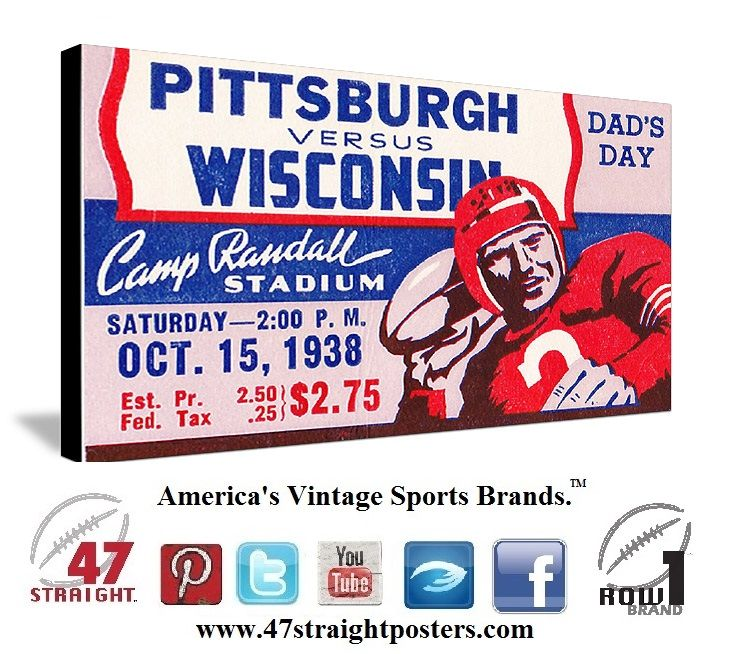 Vintage football art on canvas. 1938 Pitt Panthers vs. Wisconsin Badgers football ticket stub art on canvas. #Pitt #Panthers #Wisconsin #Badgers #collegefootball #vintage #sports #art #football https://twitter.com/47_Straight #47straight