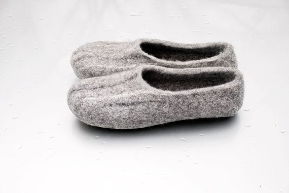 Men shoes, mens slippers, gray hand felted wool slippers STONE