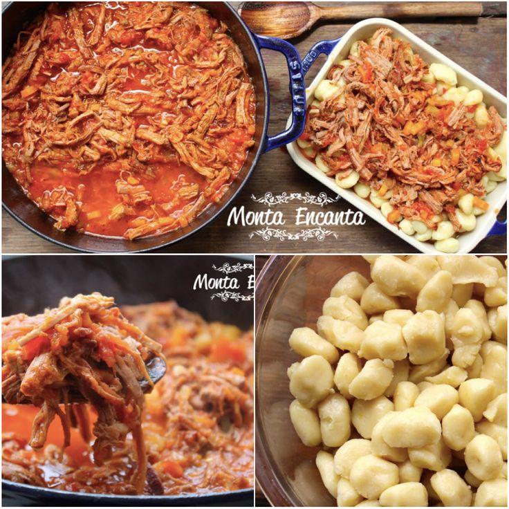Nhoque de Batata Doce, com Ragu de lagarto. Refeição saudável sem deixar de ser gostosa! http://www.montaencanta.com.br/pastas/nhoque-de-batata-doce/