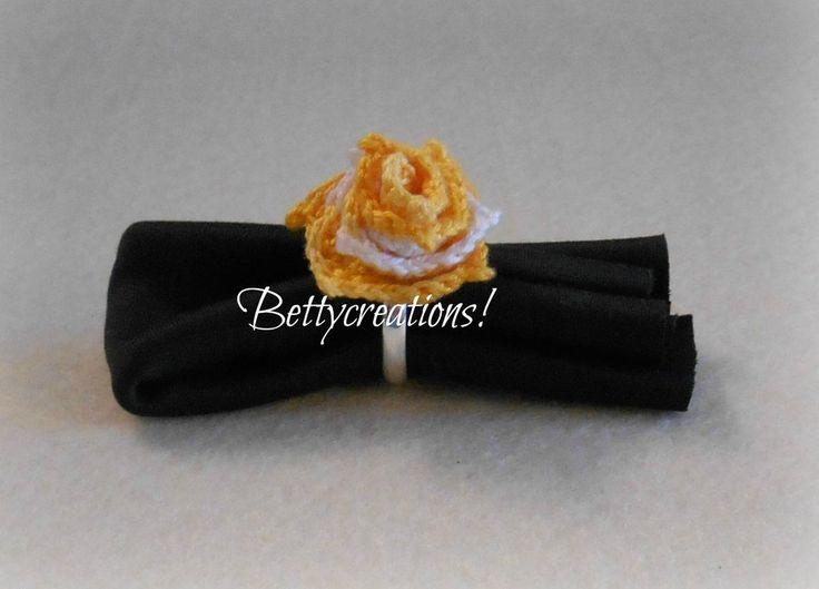 Anello Fiore Uncinetto Giallo, by Bettycreations! , 11,00 € su misshobby.com