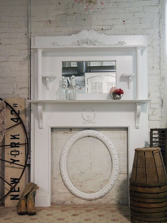 132 best diy mantels fireplaces images on pinterest - Manteles shabby chic ...