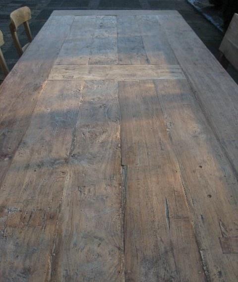 Doorleefde teak tafel oud gerecycled teakhout   bij Teak-Tafel.nl > Kan een bovenblad alleen ook?