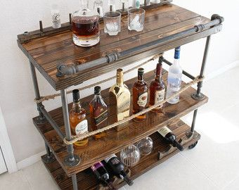 Rustic Pipe Bar Cart - Order today to get it by Christmas! There is still time - Contact us on Etsy and let us know exactly what you want. 5% off with code: PINTERESTXMAS16