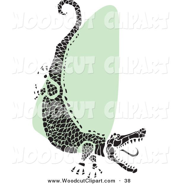 Vector Clip Art Of A Tribal Black Alligator Snapping Its Jaws Over Green And White