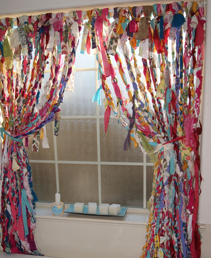 I Braided And Knotted These Boho No Sew Rag Curtains With Old Sheets Curtains Tablecloths And