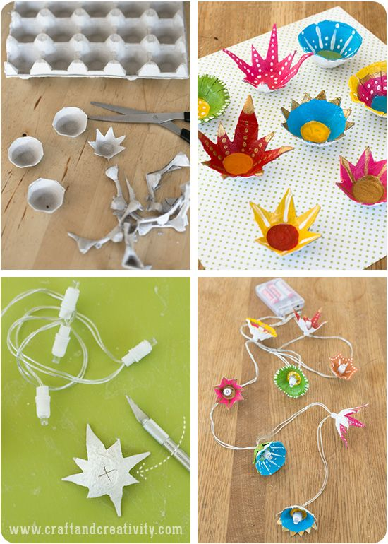 Egg carton flower lights - by Craft & Creativity
