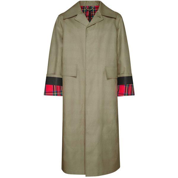 Burberry Men's Bonded Poplin Mackintosh Coat ($2,395) ❤ liked on Polyvore featuring men's fashion, men's clothing, men's outerwear, men's coats, burberry mens coat, mens plaid sport coat, mens oversized coat and mens coats