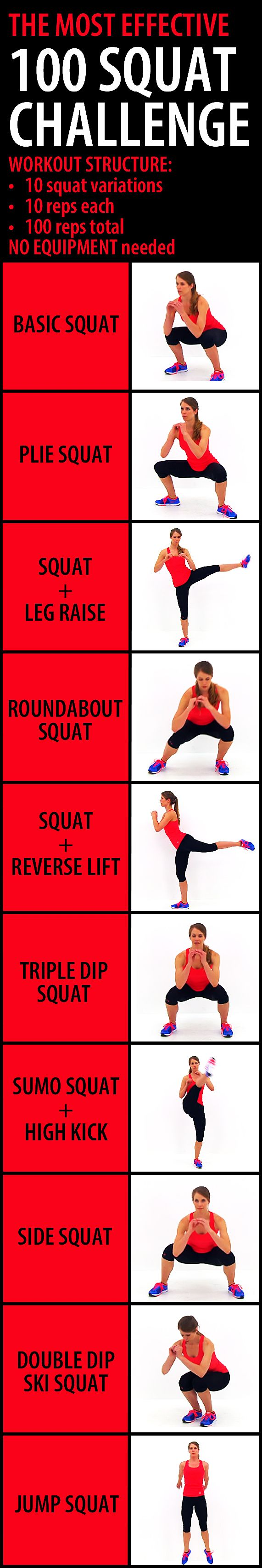 The most effective 100 SQUAT CHALLENGE. This challenge combines 10 different squat variations in order to target all of those glute muscles, from multiple angles, making it more effective than hundreds of repetitions of the same exact motion. For the best results do this routine up to 4-5 times a week. You will start to see small changes in your body in as little as a week or two, but more noticeable changes will occur in 3-4 weeks. #gluteworkout #workoutforwomen #buttworkout #butt #booty