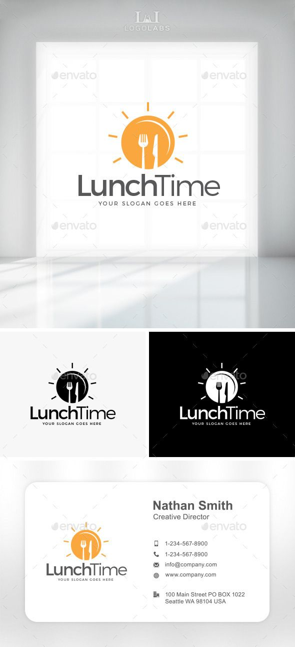 Lunch Time Logo (Vector EPS, AI Illustrator, Resizable, CS, bistro, breakfast, cafe, catering, cooking, cuisine, delicious, delivery, eat, fast food, food, food service, fork, healthy food, knife, lunch, Lunch Box, lunch break, meal, nutrition, plate, recipe, restaurant, snack, yummy)