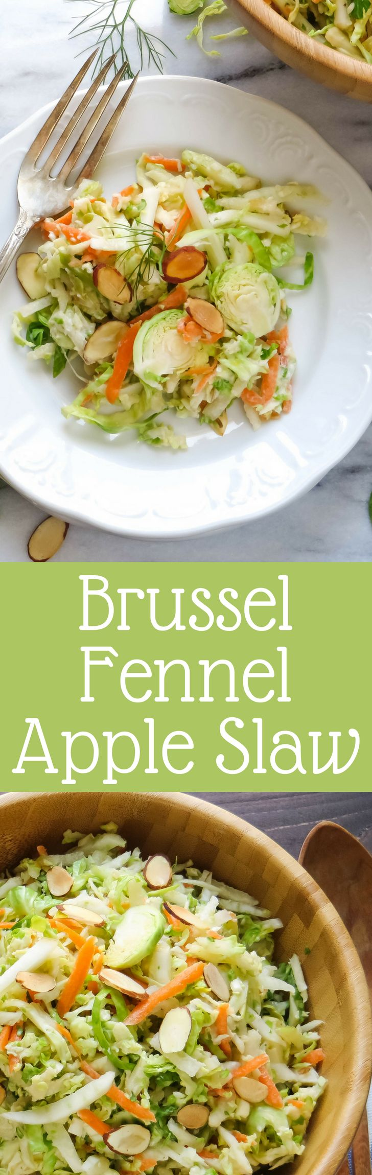 Not your average cole slaw recipe, Brussel Fennel Apple Slaw is loaded with veg & tossed with a tangy dressing.  Perfect for your next picnic or cookout!