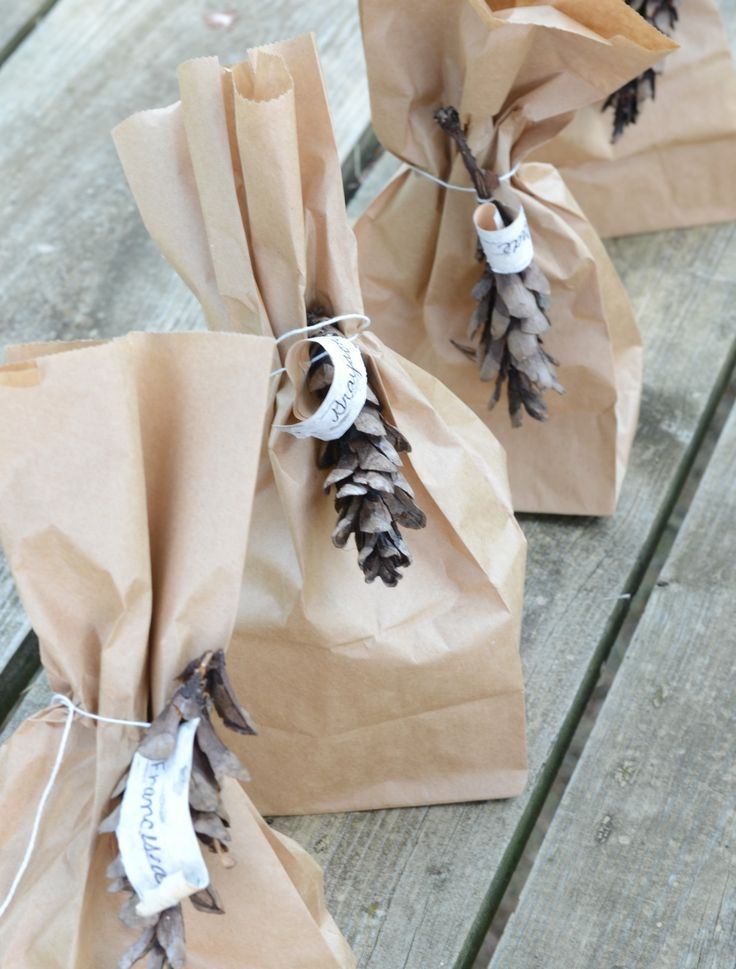 brown paper bags with pinecones & twine #giftwrap: