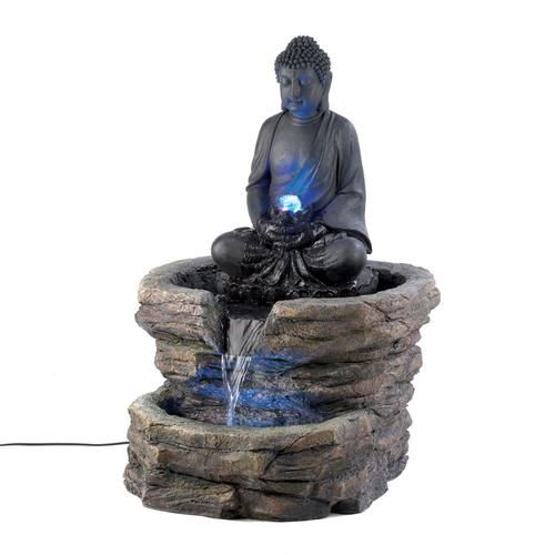 "Buddha in repose is the timeless image of Zen serenity, shown here as a sophisticated centerpiece surrounded by waters gentle flow. An elegant decoration that instantly turns any garden into a tranquil retreat! Submersible water pump included.  Due to the size and weight of this item, we are ONLY able to ship it within the Continental United States, to physical address locations, and only via UPS Ground. Material(s):POLYRESIN LED LIGHT 21.1"" x 20.1"" x 29.4"""