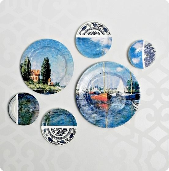 plate collage wall art  http://knockoffdecor.com/plate-wall-art-collage/
