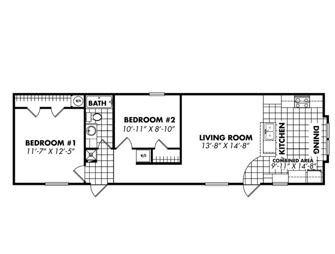 Single wide floor plans 16x56 singlewide beach shack for Small double wide floor plans