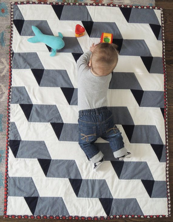 Modern Geometric Chambray Unisex Baby Quilt and by LordandLittle