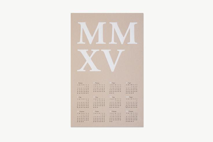 2015 MMXV Letterpress Calendar in Blush + White Foil by Chelsey Dyer