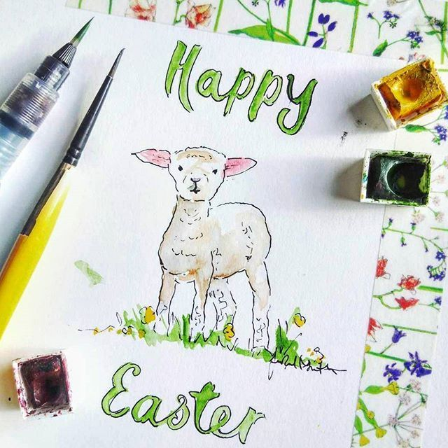 Have a beautiful Easter!💫 Such a cute illustration ❤ by @jenrussellsmithillustration #repost #mydrobby #onlineshopping #onlinebutik