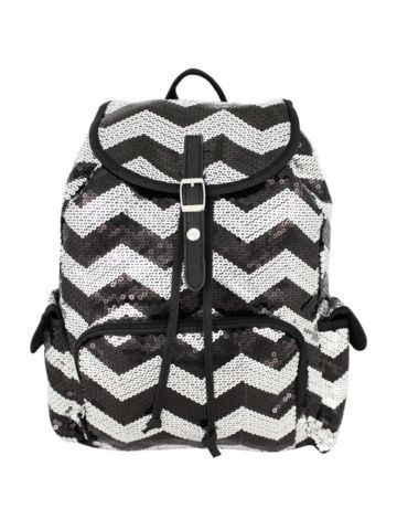 $21.50 Black Sequined Chevron Backpack