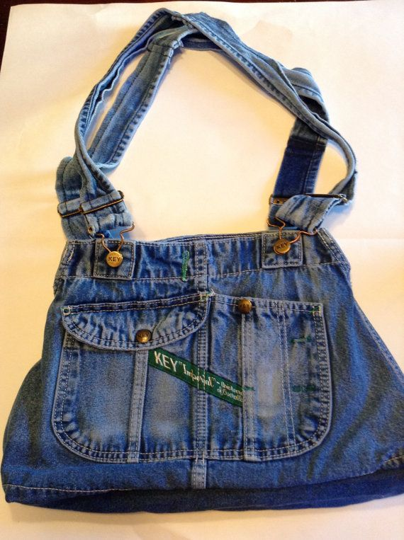 Upcycle Denim Purse Handbag with Extra Pockets and Adjustable Handle