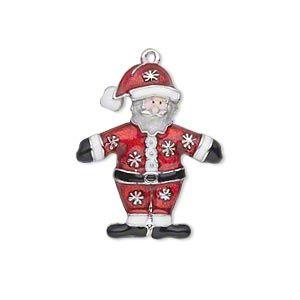 """Очарование, эмалью и серебряным покрытием, что """"оловянные и quot; (цинк на основе сплав), красный / белый / черный / персик, 26x21.5мм односторонний стоя Санта с дизайном Снежинка. Продаются по отдельности."""