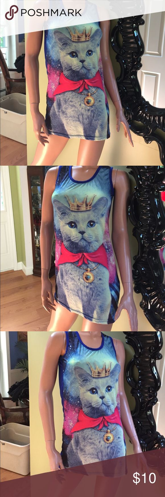 """Queen of the kitty cat's S long tank top meow Queen of the kitty cat's blue long tank top or mini dress if your daring - slinky material size S length straight down back 22"""" is this cute? Yes yes yes barely worn in excellent condition- not hot topic but listed here for visibility Hot Topic Tops Tank Tops"""