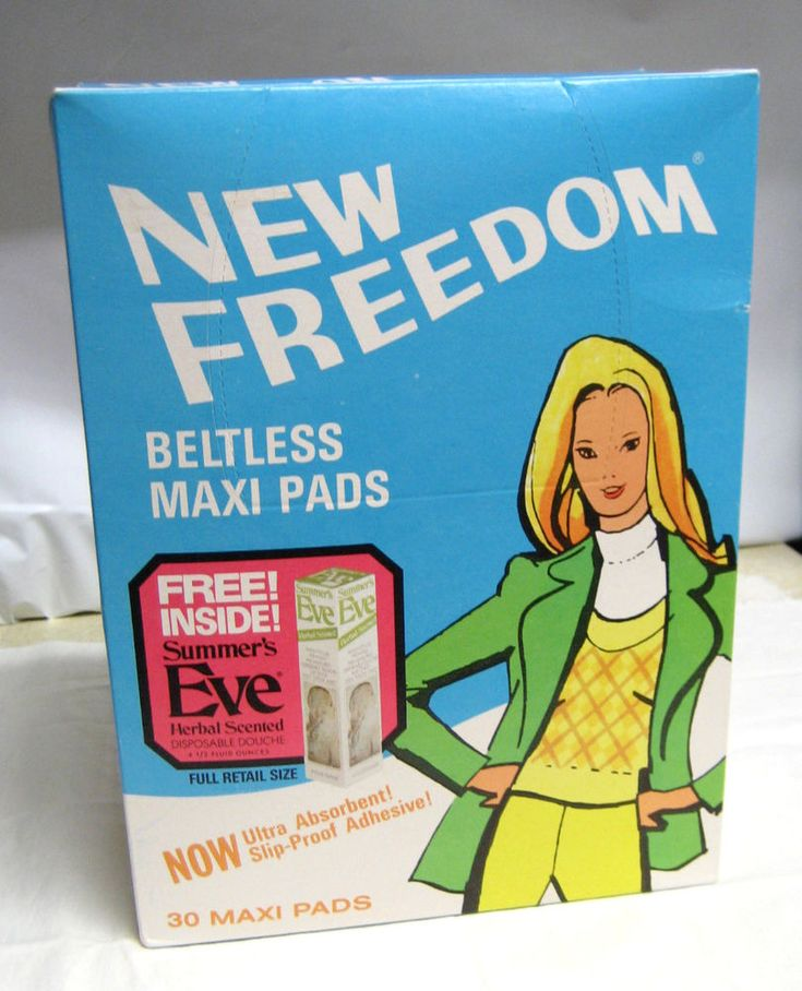VTG New Freedom Maxi Pads w/ Summer's Eve Douche RARE NOS 70s BIG BOX Movie Prop #KimberlyClark